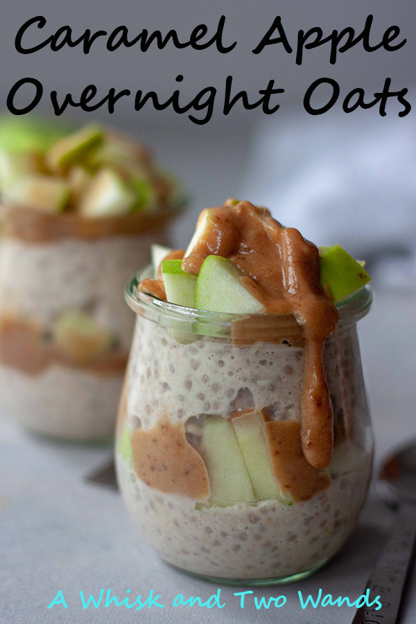 With just a couple minutes of prep you can wake up to grab Caramel Apple Overnight Oats to go and fuel your day! Gluten free and vegan friendly they can be heated up and enjoyed warm if desired on chilly mornings.
