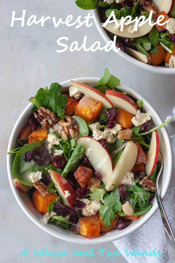 Harvest Apple Salad is a flavor packed main dish salad that will make anyone fall in love with salad. Also great as a side salad or for fall gatherings like Thanksgiving. Mix of arugula and mixed greens, warm cinnamon spice roasted butternut squash, crisp apples, dried cranberries and or figs, Candied Maple Walnuts, homemade tofu feta (or regular if you can eat dairy), and finished with apple cider dressing. Vegan and gluten free friendly.