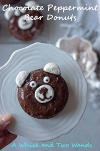 Simple delicious Chocolate Peppermint Bear Donuts are gluten free and vegan friendly chocolate cake donuts topped with chocolate mint icing and marshmallow to look like bears that kids will love.
