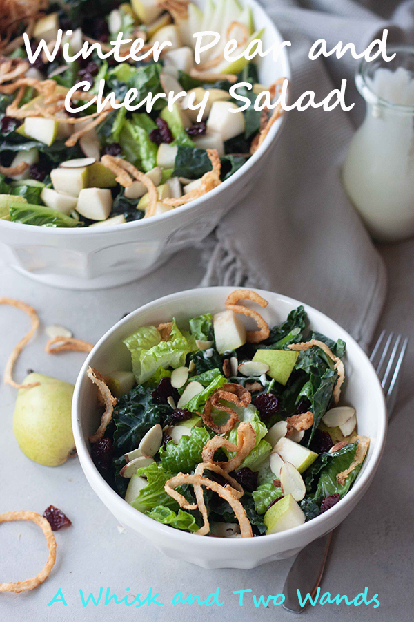 Delicious Winter Pear and Cherry Salad is a blend of romaine and kale topped with juicy ripe pears, tart dried cherries, sliced almonds, and crispy onions. Dressed or served with blue cheese dressing (dairy free/vegan options). Makes a delicious main course or side salad perfect for a weeknight meal or entertaining.