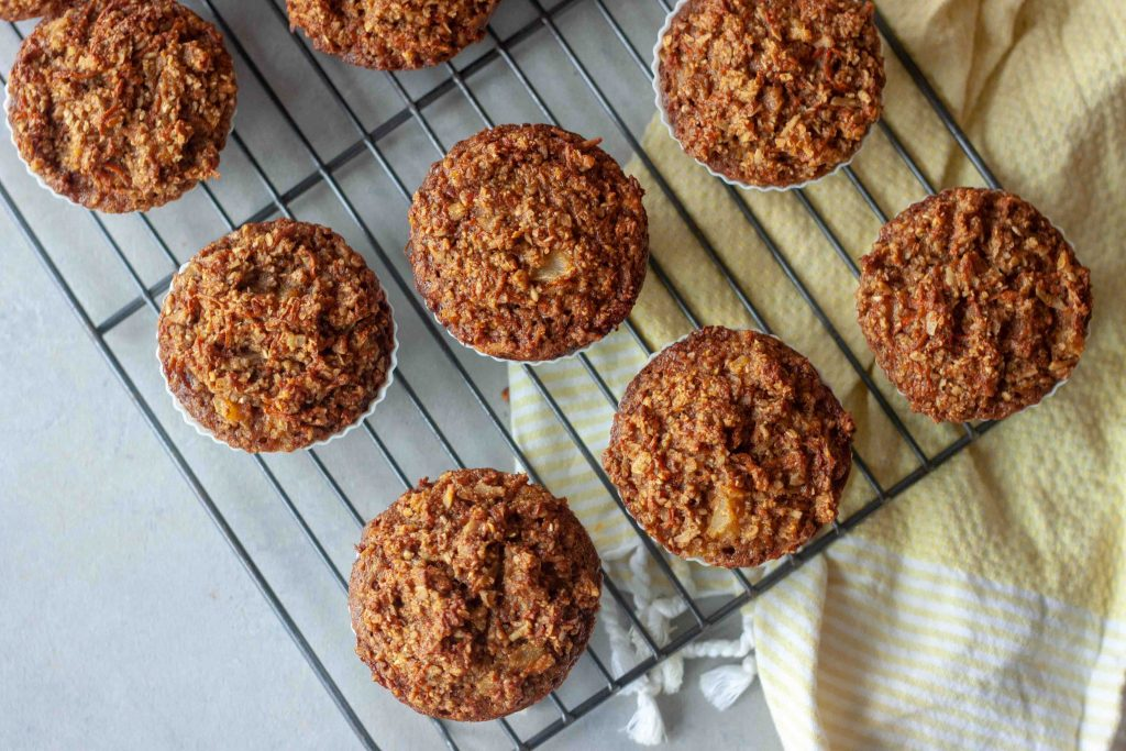 Carrot Cake Oatmeal Muffins fresh out of the oven