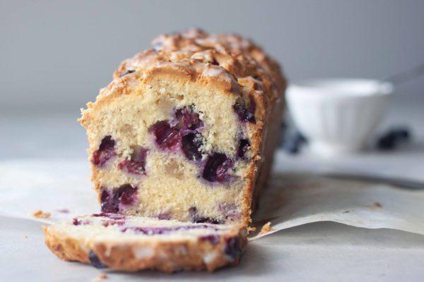 Blueberry Almond Scone Loaf, sliced