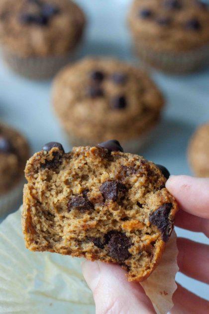 inside of Sweet Potato Chocolate Chip Muffins