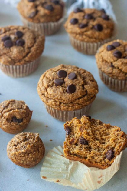 Sweet Potato Chocolate Chip Muffins and inside muffin