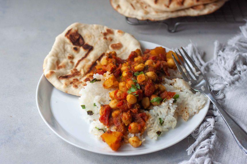 Chana Masala with Pumpkin and Crispy Coconut Rice and homemade Naan Bread