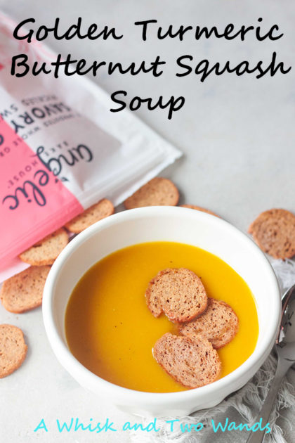 Nothing hits the spot on a chilly day like soup. Golden Turmeric Butternut Squash Soup topped with Angelic Bakehouse Sprouted Pickled Sweet Onion & Beet Crisps is a healthy and delicious way to warm up!