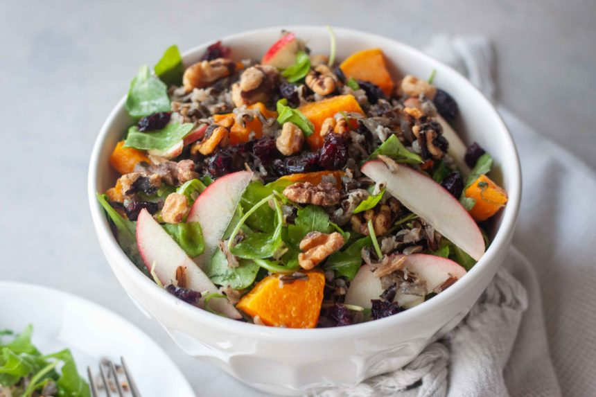 Bowl of Wild Rice Roasted Butternut Squash Salad