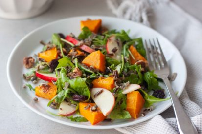 Plate of Wild Rice Roasted Butternut Squash Salad with fork.