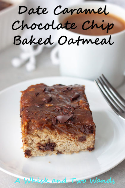 Date Caramel Chocolate Chip Baked Oatmeal is simple yet an indulging healthy treat and great to make ahead to make mornings easier, and a little sweeter! Simple whole food ingredients it's gluten free, with a vegan option, that the whole family will love.