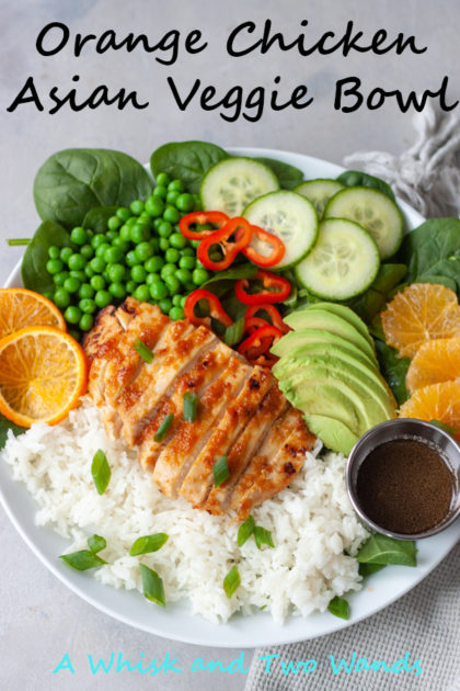 Orange Chicken Asian Veggie Bowls are one of the ways to customize my Asian Veggie Bowls adding chicken! Simple, anything but boring, delicious grain bowls that are packed with whole food flavor and easily customizable for the whole family. Easy to make, can be prepped ahead for a quick weeknight dinner or lunch