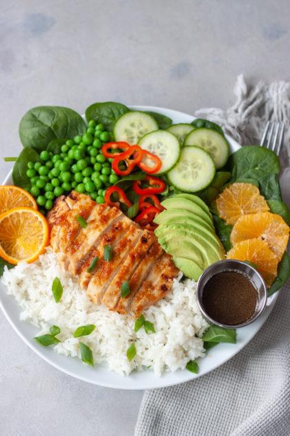 Orange Chicken Asian Veggie Bowl