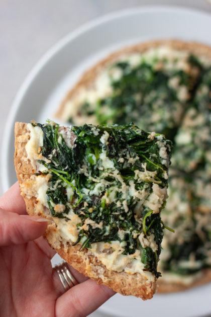 slice of Spinach Garlic Flatzza Pizza