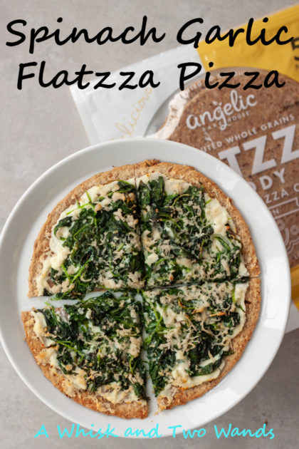 Quick, healthy, and delicious Spinach Garlic Flatzza Pizza make any night a good night for pizza! Made with Angelic Bakehouse Sprouted Flatzza Pizza Crust they're vegan friendly and perfect for lunch too.