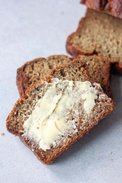 Life Is Bananas Blender Banana Bread sliced with butter