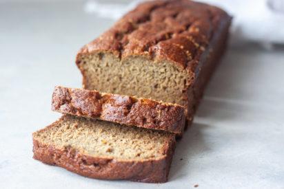 Sliced loaf of Life Is Bananas Blender Banana Bread