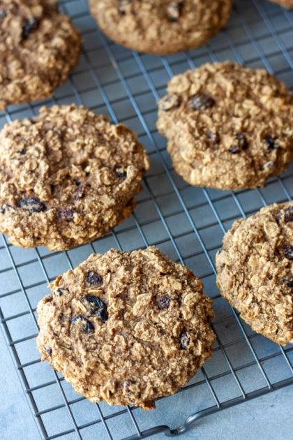 Cooling rack of Oatmeal Raisin Breakfast Cookies