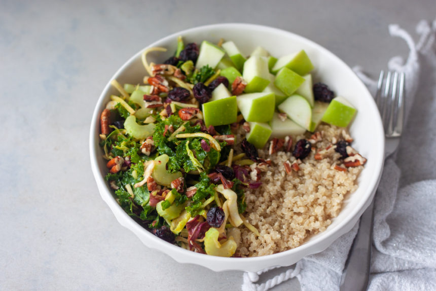 Bowl with Crunchy Cran-Apple Quinoa Salad and fork.