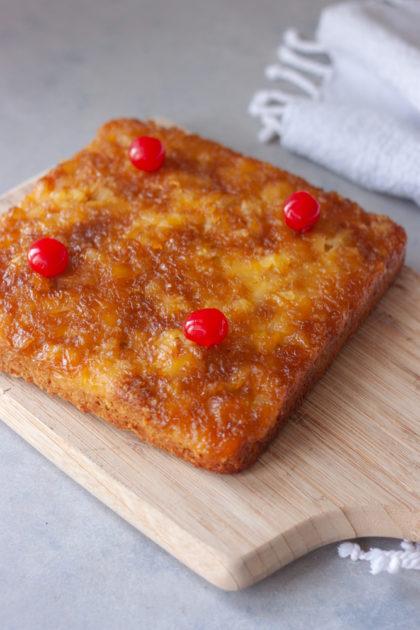 Pineapple Upside-Down Oatmeal Cake on cutting board