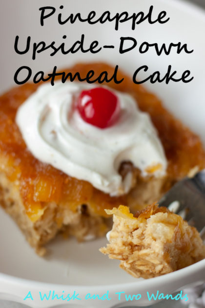 Eat cake for breakfast! Pineapple Upside-Down Oatmeal Cake is perfect for breakfast or snack and is perfect balance between healthy and indulging dessert yet healthy enough for breakfast. Gluten free, dairy free and vegan friendly, and made with simple ingredients you probably already have in your kitchen.