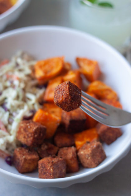 Fork with cripsy BBQ Tofu bowl