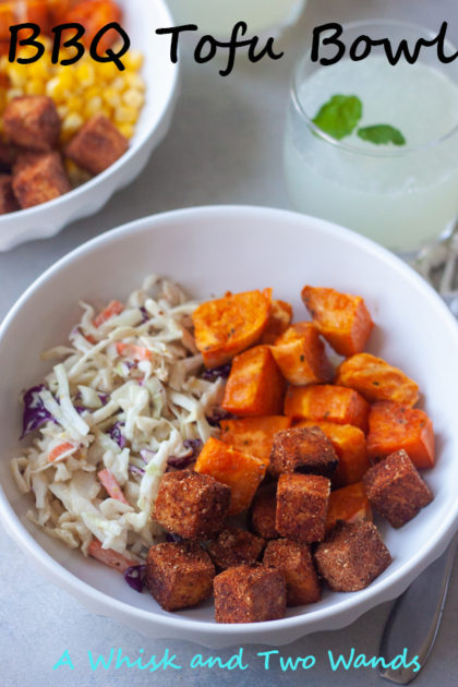 BBQ Tofu Bowls A plant-based version of everything you love at your summer bbq in a bowl. BBQ Tofu combine with your favorite coleslaw, potatoes, corn, beans whatever YOU want! I've added in what I happened to put in my bowl this time, my husband added corn and the kids made their own combos. I always add extra BBQ sauce on top too, this time a mustard bbq sauce.