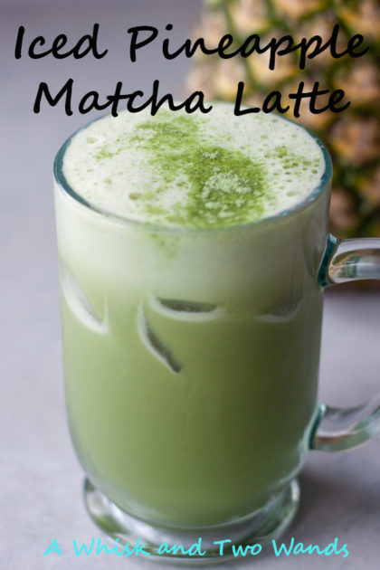 Iced Pineapple Matcha Latte Refreshing, energizing, and relaxing combination of matcha green tea, fresh pineapple juice, coconut or oat milk, optional ginger, and ice.