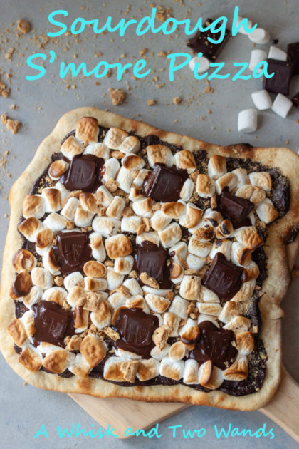Sourdough S'more Pizza a little sweet treat to end the night. A spin on a traditional summer treat for a summer that is anything but normal. Perfect addition to any pizza night.