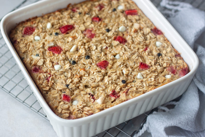 pan with Red White Blueberry Muesli Baked Oatmeal
