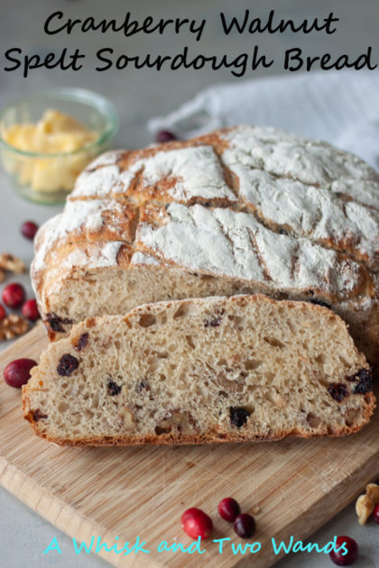 Cranberry Walnut Spelt Sourdough Bread is simply delicious, especially this time of year! Perfect for your Thanksgiving table, or just an average day. I especially love it (usually toasted) topped with honey butter, it doesn't get much better than fresh homemade sourdough!