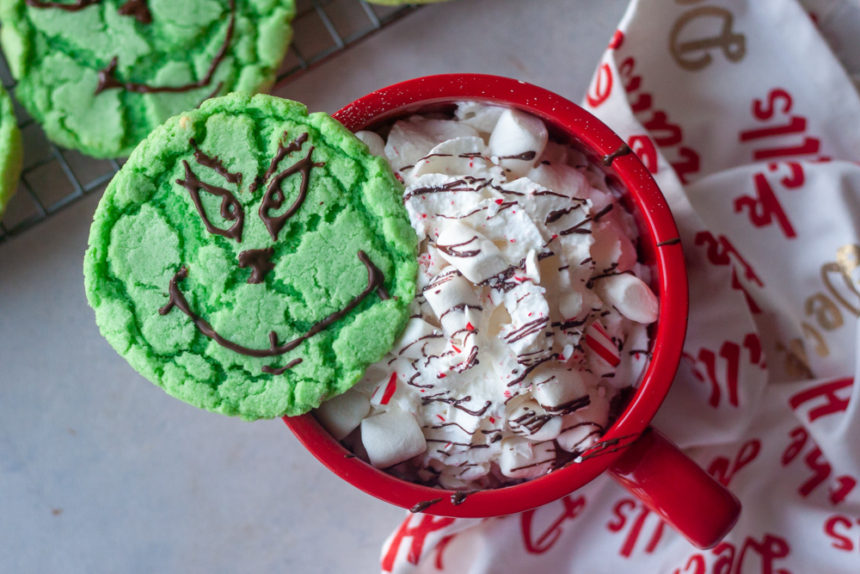 Grinch Cookie and hot cocoa