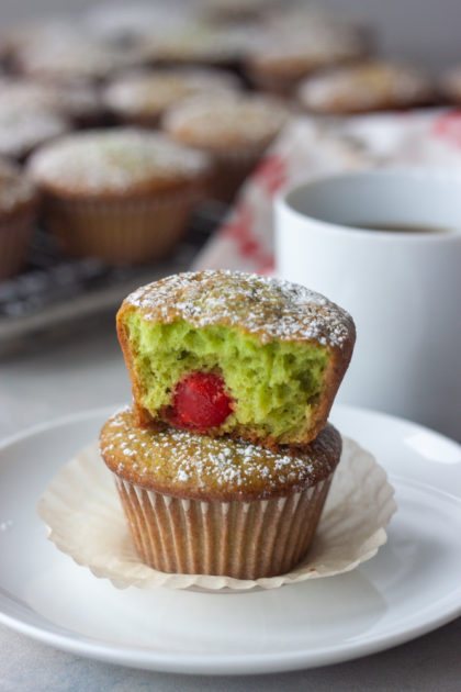 Two Grinch muffins stacked showing inside.