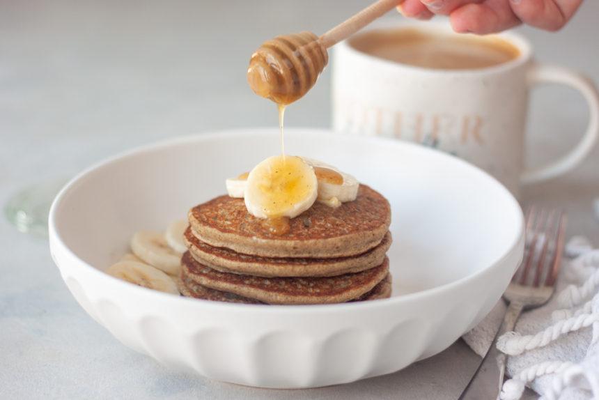 honey drizzle, bowl, banana, pancakes, coffee