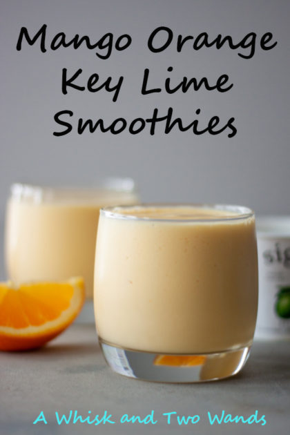 Mango Orange Key Lime Smoothies are simple, delicious, and a kid favorite! Only 4 simple ingredients, including ice, it's a gluten free and vegan friendly recipe.