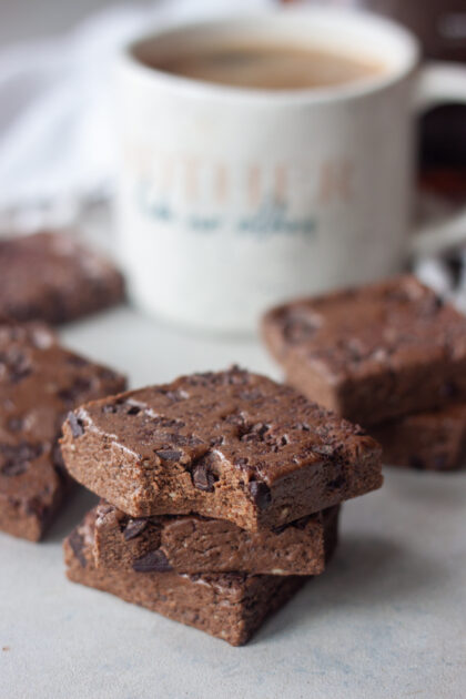Morning Mocha Fudge with bite and coffee