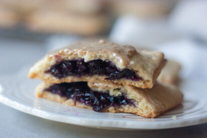 Blueberry Pancake Pop Tarts topped with Cocoa Bar In A Jar inside.