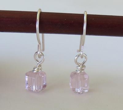 Pink Cube Earrings