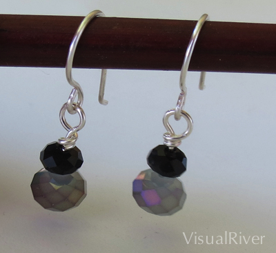 Smokey Black Sparkle Dangle Earrings