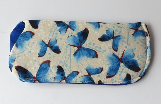 eye glass case blue butterflies