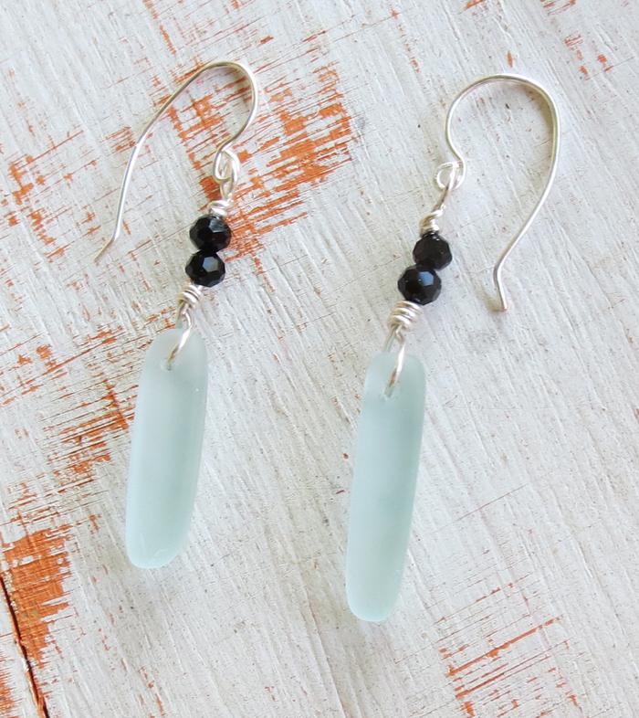 Aqua Dagger Sea Glass Earrings