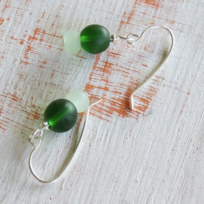 Green Sea Glass Earrings