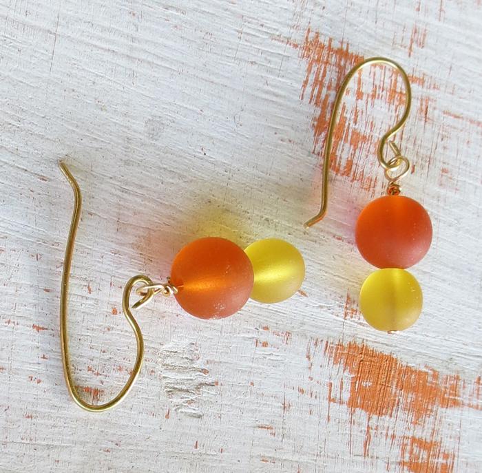 Orange Yellow Sea Glass Earrings
