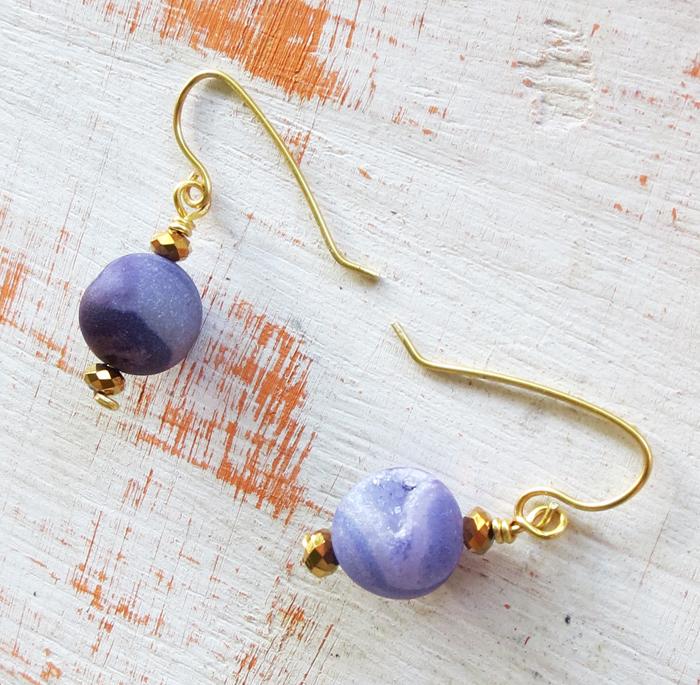 Purple Geode Earrings