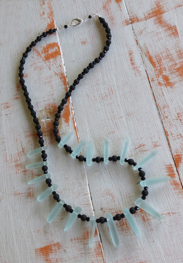 Black and Aqua Dagger Necklace
