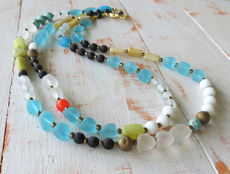 Double Strand Sea Glass Necklace