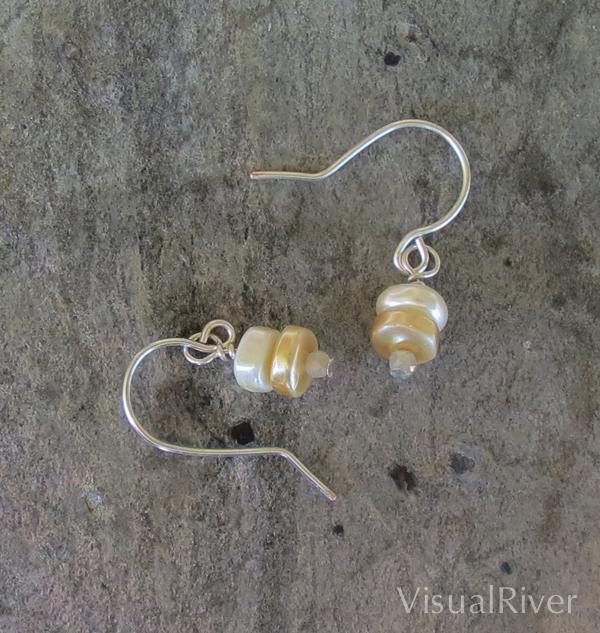 Pearl Button Drop Earrings
