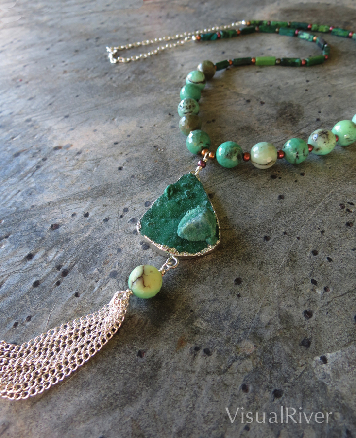 Green Druzy Pendant Necklace