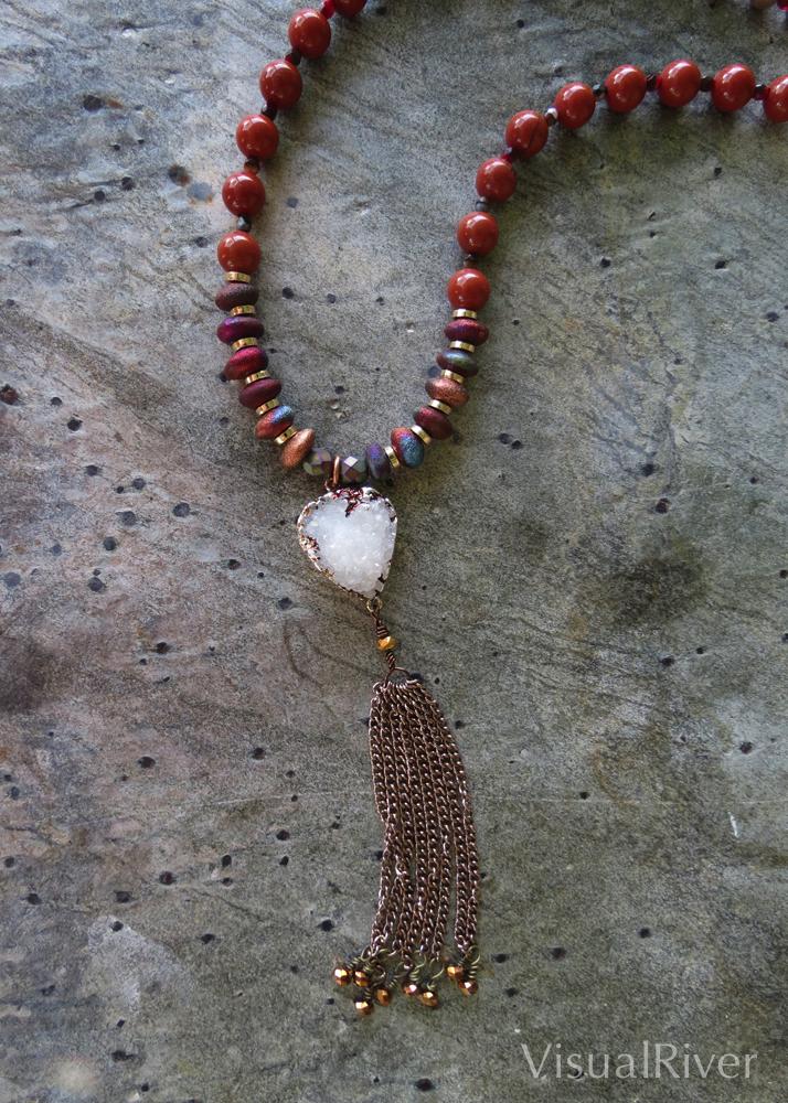 White Crystal Druzy Pendant Necklace