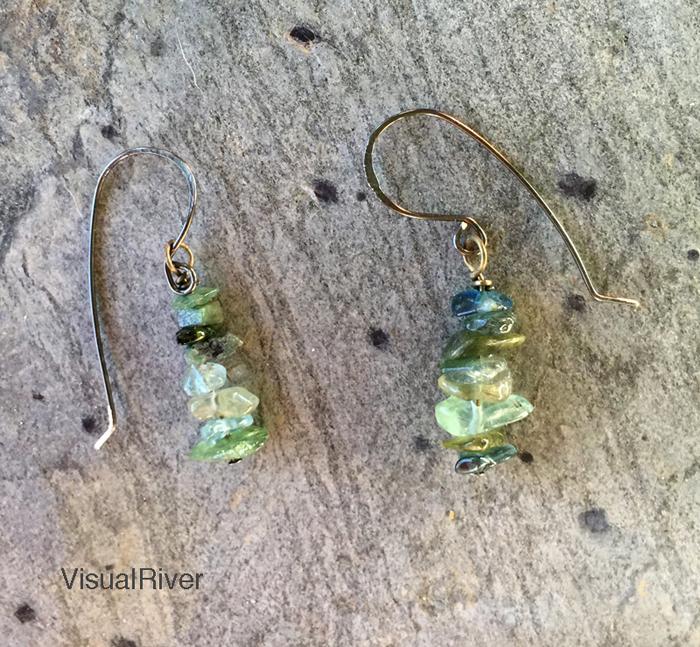 Fluorite and Emerald Drop Earrings