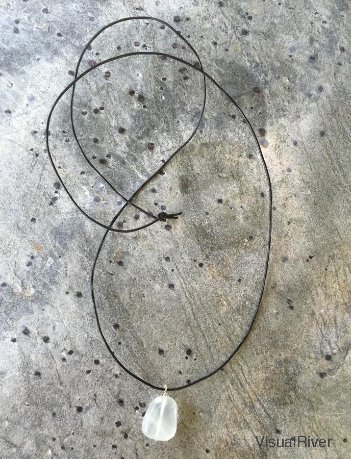 Leather Stone Pendant Necklace