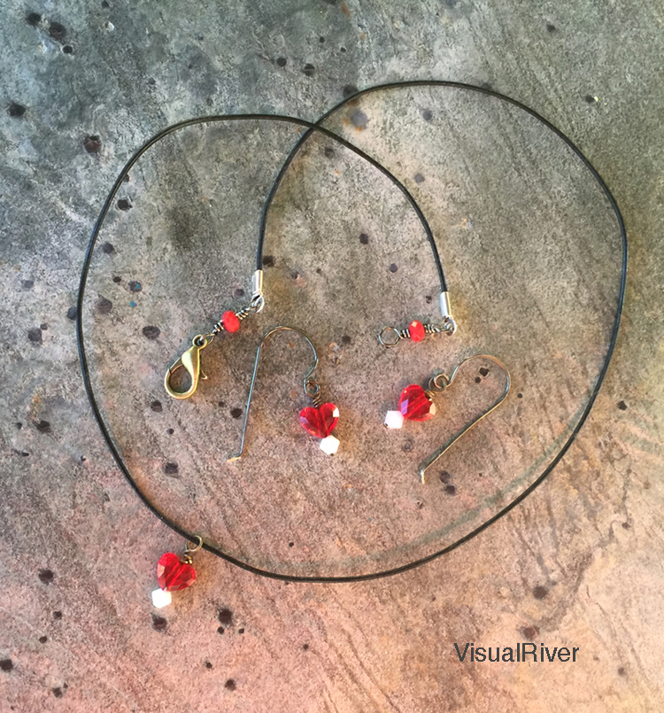 Swarovski Crystal Red Heart necklace and earring set